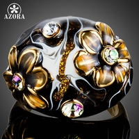 AZORA Unique Design 18k Real Gold Plated Black Flower Stellux Austrian Crystal Oil Painting Pattern Ring