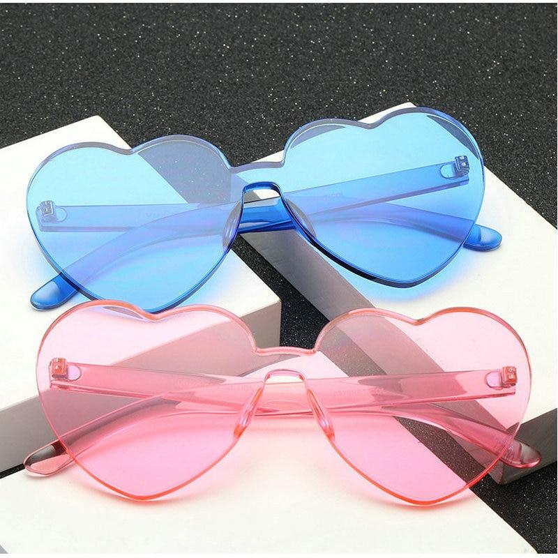 4875d04dca MINCL Womens Designer Cute Rimless Love Heart Shaped Sunglasses Ladies  fashion unique Jelly sunglasses Party glasses FML-in Sunglasses from  Apparel ...