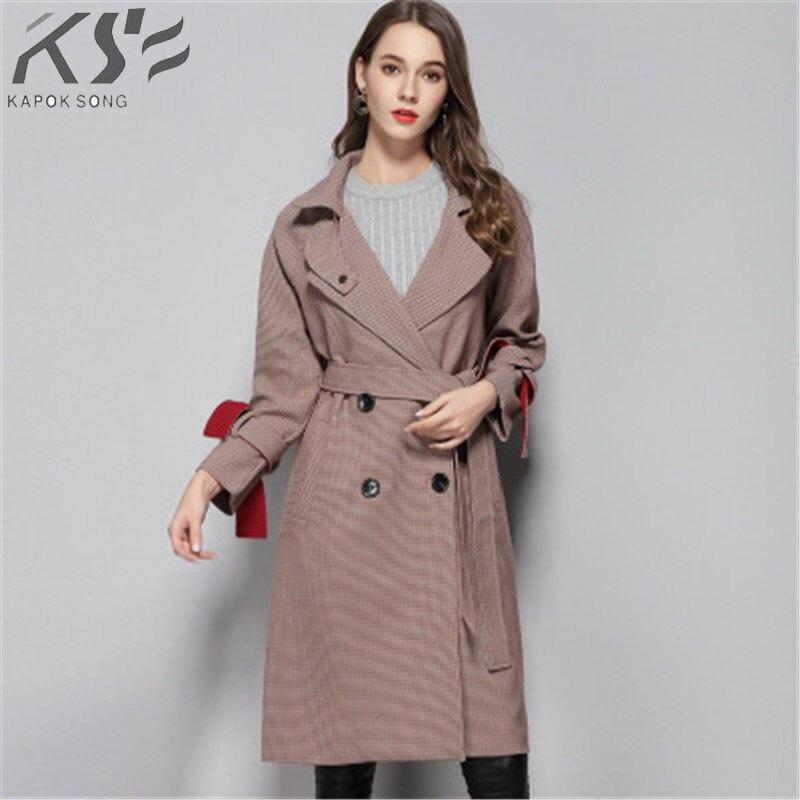 2018 Autumn new windbreaker female windbreaker long thousand bird coat coat