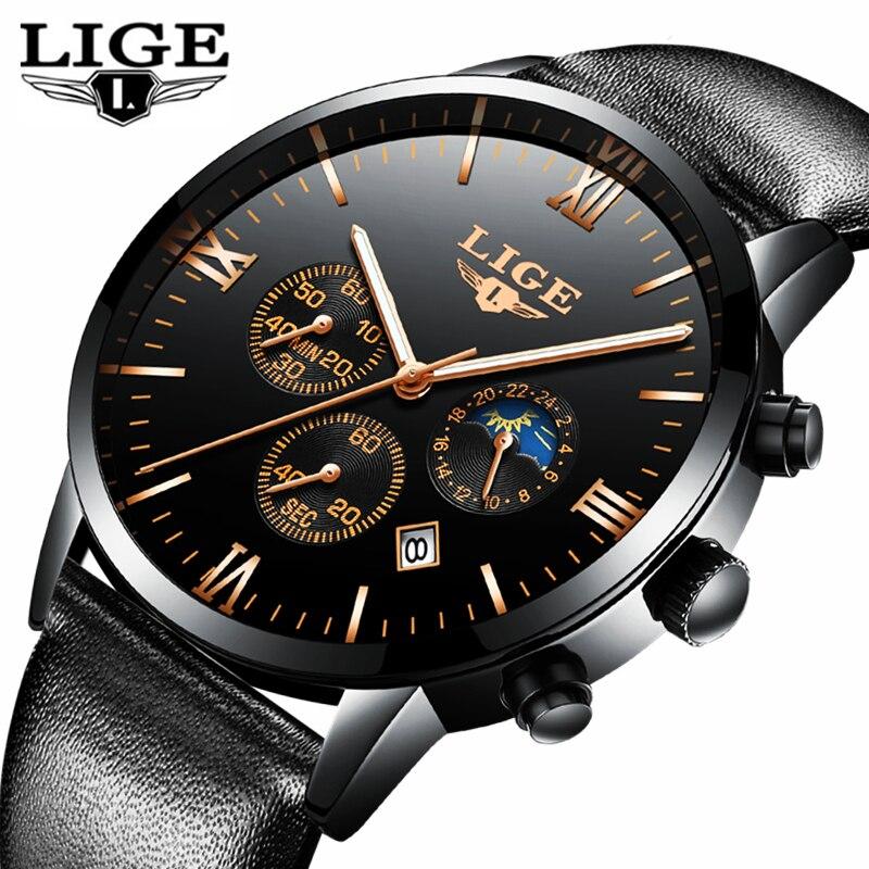 LIGE Mens Watches Clock Business Waterproof Top-Brand Fashion Luxury Sport Quartz Date