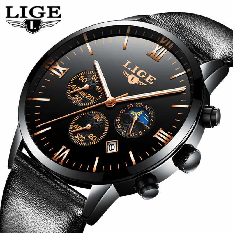 <font><b>LIGE</b></font> Mens Watches Top Brand Luxury Fashion Quartz Watch Men Waterproof Leather Date Business Clock Sport Watch Relogio Masculino image