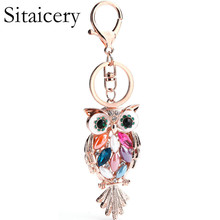Sitaicery New Design Crystal Owl Keychain Full Rhinestone Key Ring Key Chain For Women Bag Accessories Cute Animal Car Key Chain цена 2017