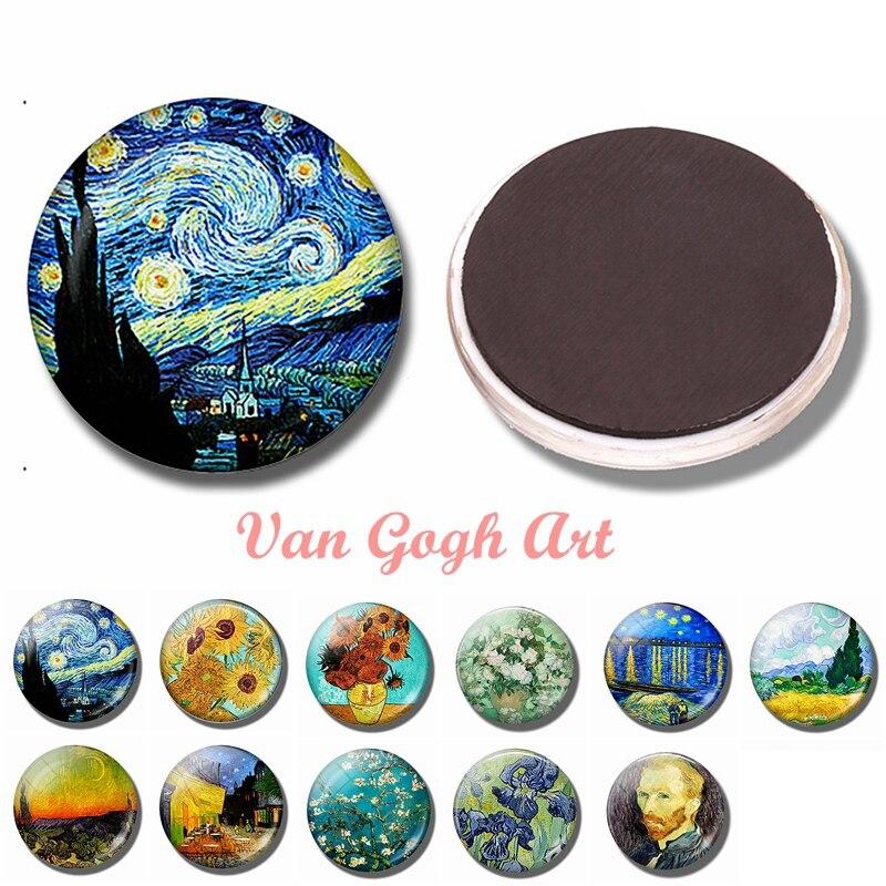 Van Gogh Art 30 мм магнит на холодильник Звездная ночь стекло купол Ирисы подсолнухи Роза миндаль дерево магнитные наклейки на холодильник