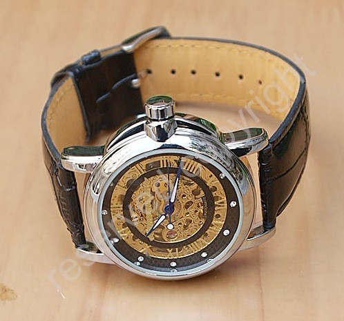 Free shipping golden hollow watches Fashion men mechanical Timepiece hand wind watches mens gold watch leather Band