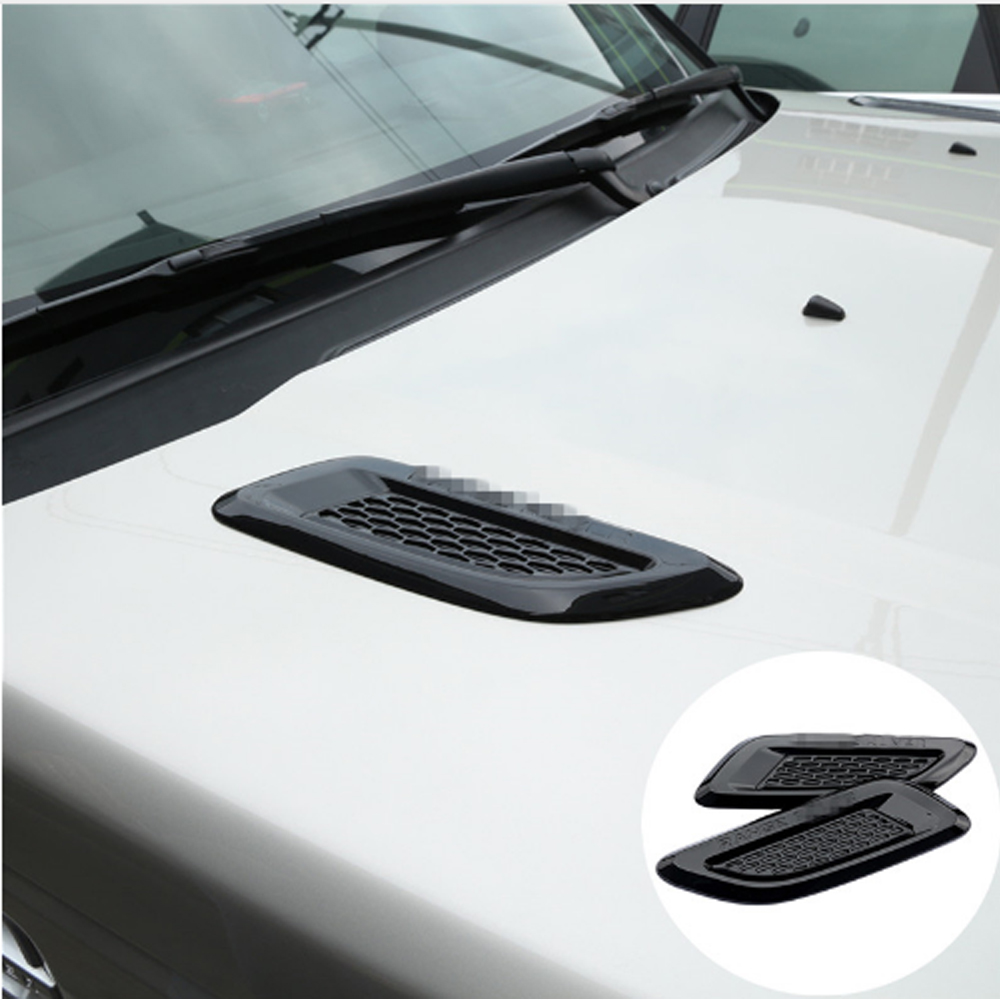 Car Accessory For Land Rover Discovery Sport LR4 For Range Rover Evoque Vogue Hood Air Vent Outlet Wing Trim Stickers 2pcs for land rover discovery 4 lr4 accessories abs dark wood grain center console ac outlet cover trim sticker for lhd 2pcs set