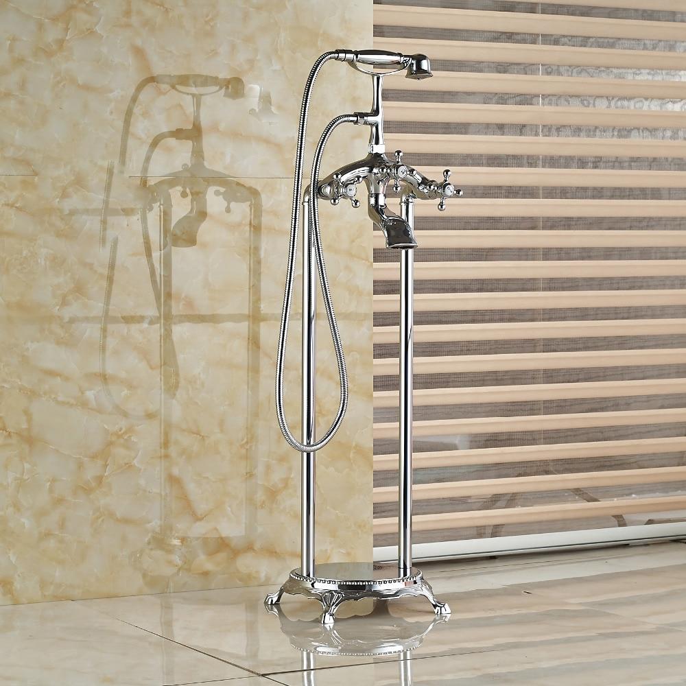Chrome Brass Bathroom Tub Faucet Floor Mounted Tub Filler W/ Hand Shower Mixer mojue thermostatic mixer shower chrome design bathroom tub mixer sink faucet wall mounted brassthermostat faucet mj8246