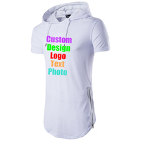 Custom Logo Photo Text printed Men Hip Hop Hooded T shirt Short Sleeve Zipper Boy Punk Rock Tops personized Male Tees Tshirt Top