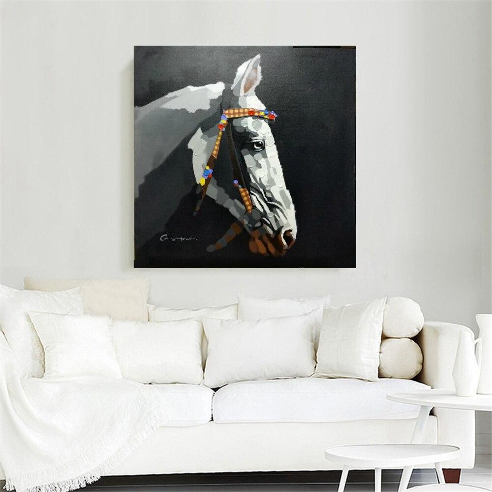 Peintures à l'huile nordiques peintes à la main Cool Horse fond noir peinture à l'huile sur toile pour bureau hall Gym décor mural Animal - 2