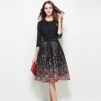 Europe Fashion 2017 Spring New Slim Lace Patchwork Dresses Women Elegant Half Sleeve Floral Print Party