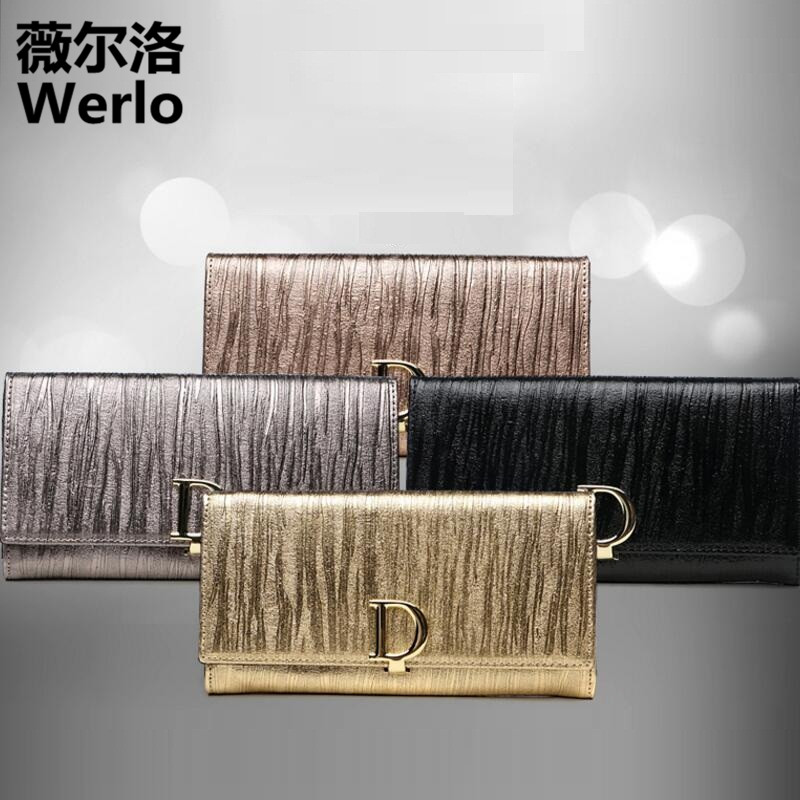WERLO Brand Designer New Genuine Cow Leather Women Wallet Fashion Ladies Money Clip Carteira Female Purses Long Clutch Bag SJ170