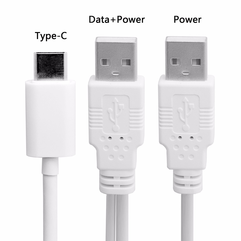 100pcs/lotFree shipping USB3.1 Type C USB-C to Dual A Male Extra Power Data Y Cable for Cell Phone & Hard Disk transmission line
