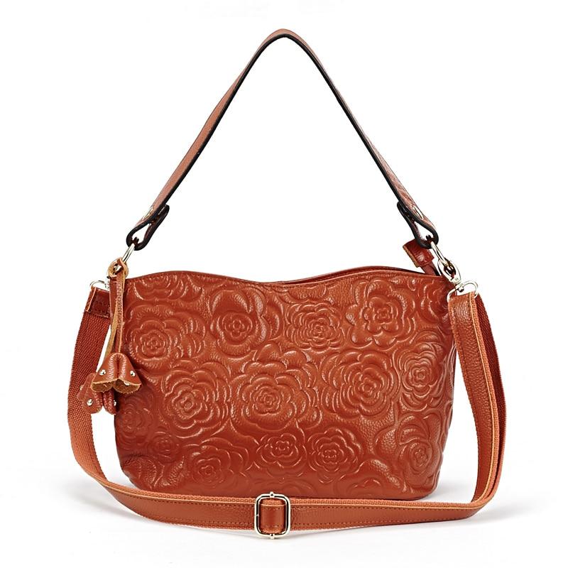 Genuine Leather Embossing Rose Flower Feminine Handbags Hot Brand Designer Large Capacity Messenger Bags Bolsas Feminina 2018