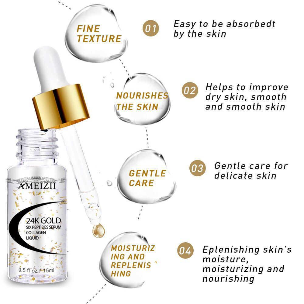 1 piezas de oro de 24 K hexapéptido ácido hialurónico poros reduciendo hidratante para espinillas acné cuidado de la piel blanqueamiento esencia TSLM2
