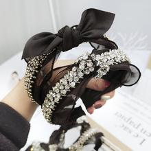 Crystal Pearl Knot Headbands For Women Flower Hairbands Hair Bow Accessories for Girls  Crown Lace Headband Band