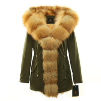 Womens winter parkas coat jacket fox raccoon fur detachable all fur liner green black beige golden white blue red collars 17053