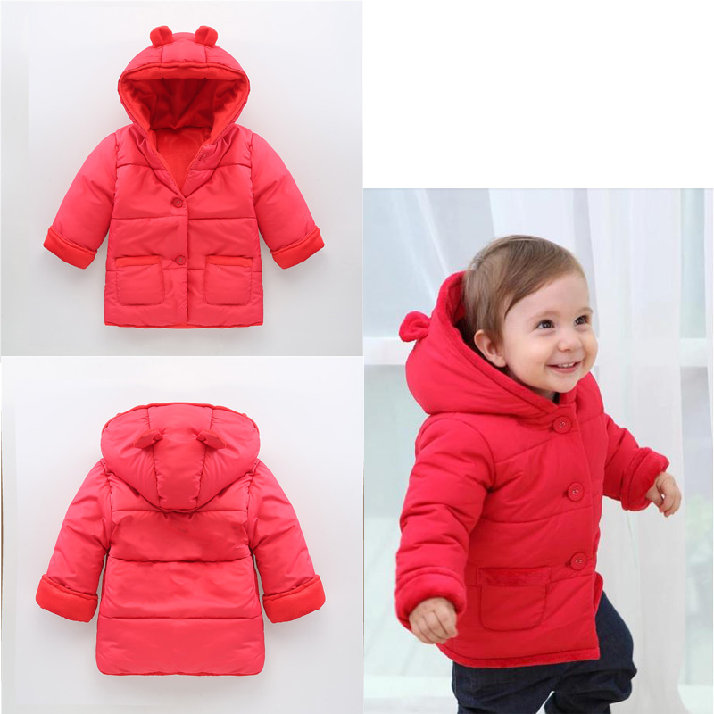 Baby Hooded Outerwear Coats Baby Girl Clothes Cotton Thick Winter Warm Kids Clothes Jacket Baby-Snowsuit V49 2017 winter baby coat kids warm cotton outerwear coats baby clothes infants children outdoors sleeping bag zl910