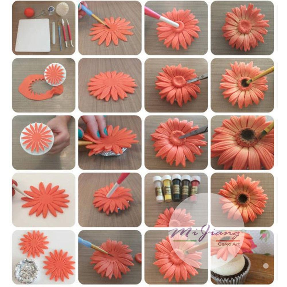 3pcsset Gerbera Daisy Flower Petal Cake Mold Plunger Fondant Cookie