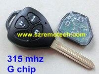 Envío de la nueva 3 abotona llave alejada para toyota camry/corolla/prado 315 mhz G TOY43 chip en el interior hoja