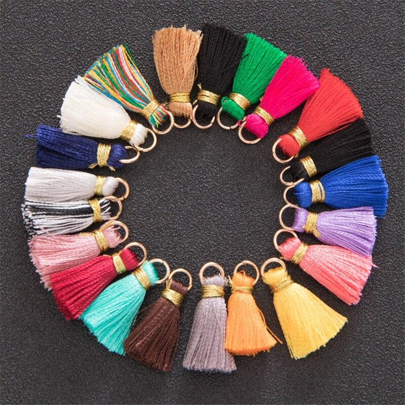 30pcs 2.5cm Metal Ring Gold Thread Mini Tassels Fringe Pendant DIY Material Jewelry earring Curtain Decor Smooth Tassels Trim