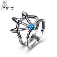 HIYONG Three Arrow Unique Design Double Circles Stackable Ring Blue Dome Shape Handmade Turquoise Best Gift