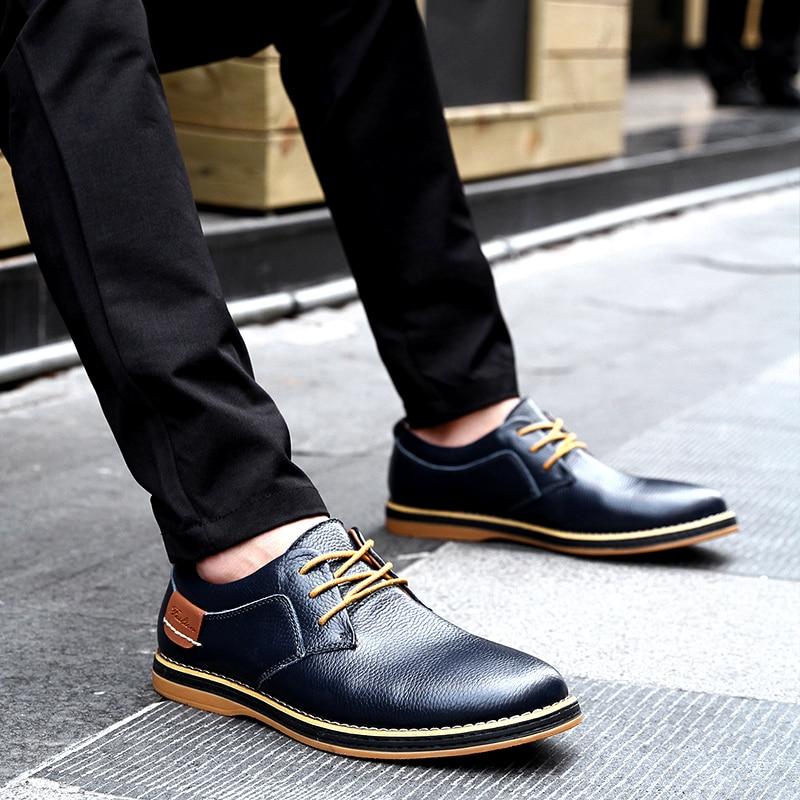 HTB19Iz3c21H3KVjSZFHq6zKppXaf 2019 New Men Oxford Genuine Leather Dress Shoes Brogue Lace Up Flats Male Casual Shoes Footwear Loafers Men Big Size 39-48