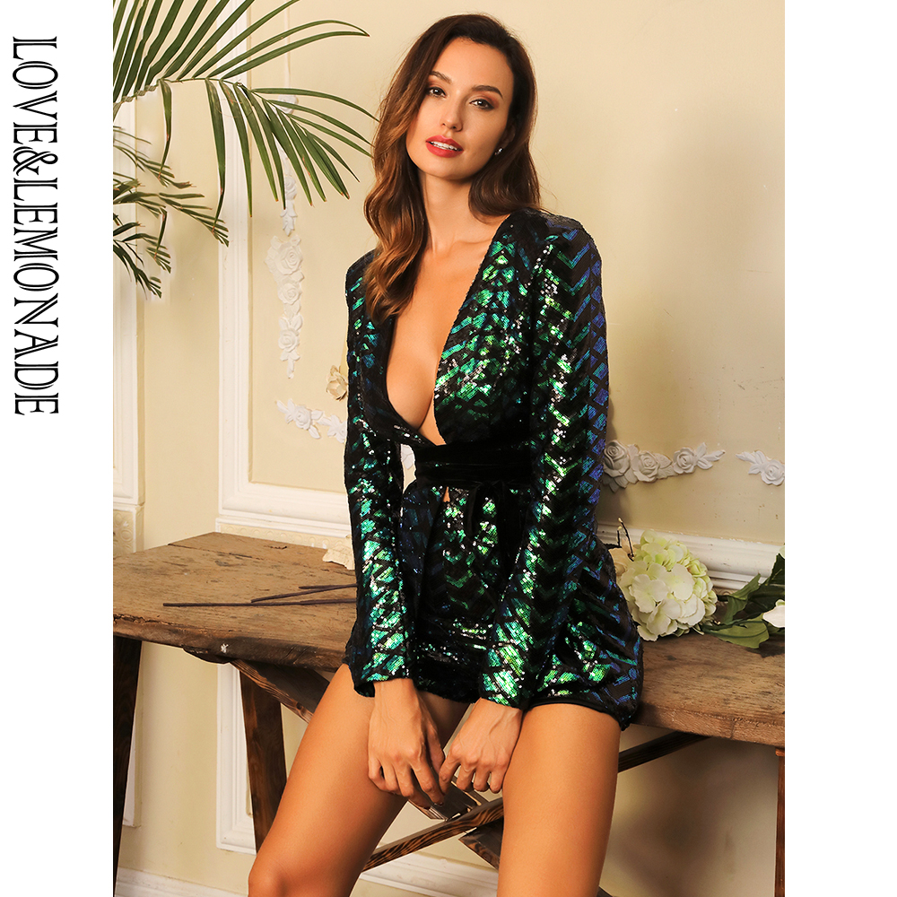 LOVE&LEMONADE Sexy Green Deep V-Neck Geometry Sequin Two-Pieces Belt Set  LM80316-2