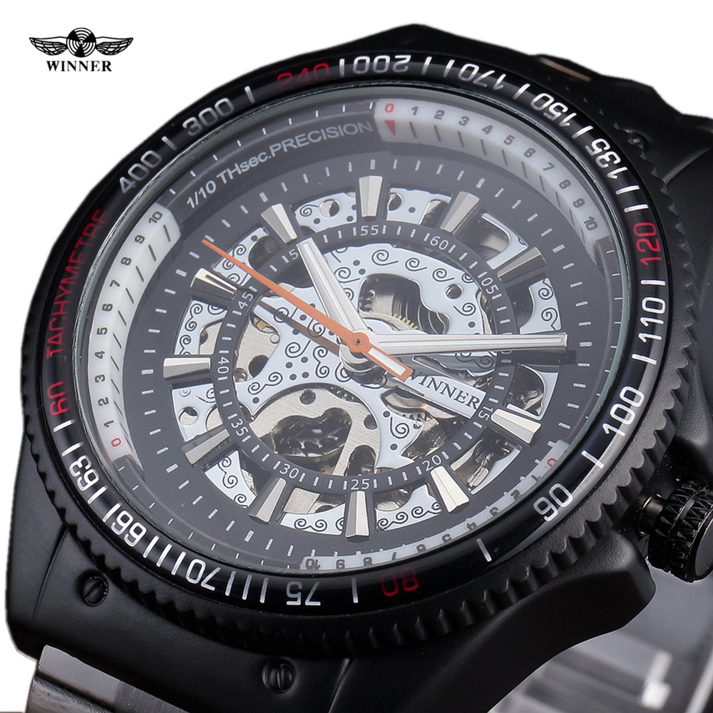 WINNER New Fashion Skeleton Wrist Watches Black Automatic Mechanical Watch for Men Stainless Steel Strap Fashion Military Clock shenhua brand black dial skeleton mechanical watch stainless steel strap male fashion clock automatic self wind wrist watches
