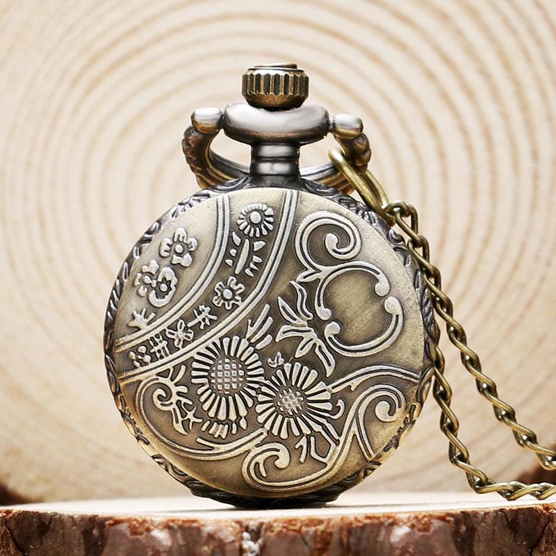 Cool Bronze Tower Bridge Case Design Quartz Pocket Watches Small Size Fob Watch Sweather Necklace Pendant for Women Ladies Gift