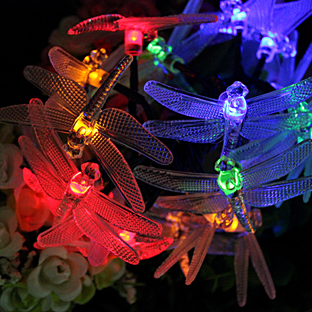 8 Modes 20 LED Outdoor Wedding Party and Holiday Dragonfly Shape String Lamp Solar Lights Garden Patio Decoration Indoor