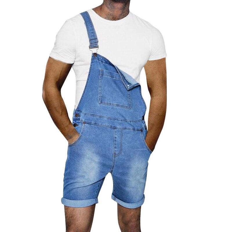 Calof 2019 Short Jeans Men Fashion Pockets Hip Hop Male Denim Jumpsuit Causal Streetwear Hip Hop Slim Short Jeans Romper Male Men's Clothing