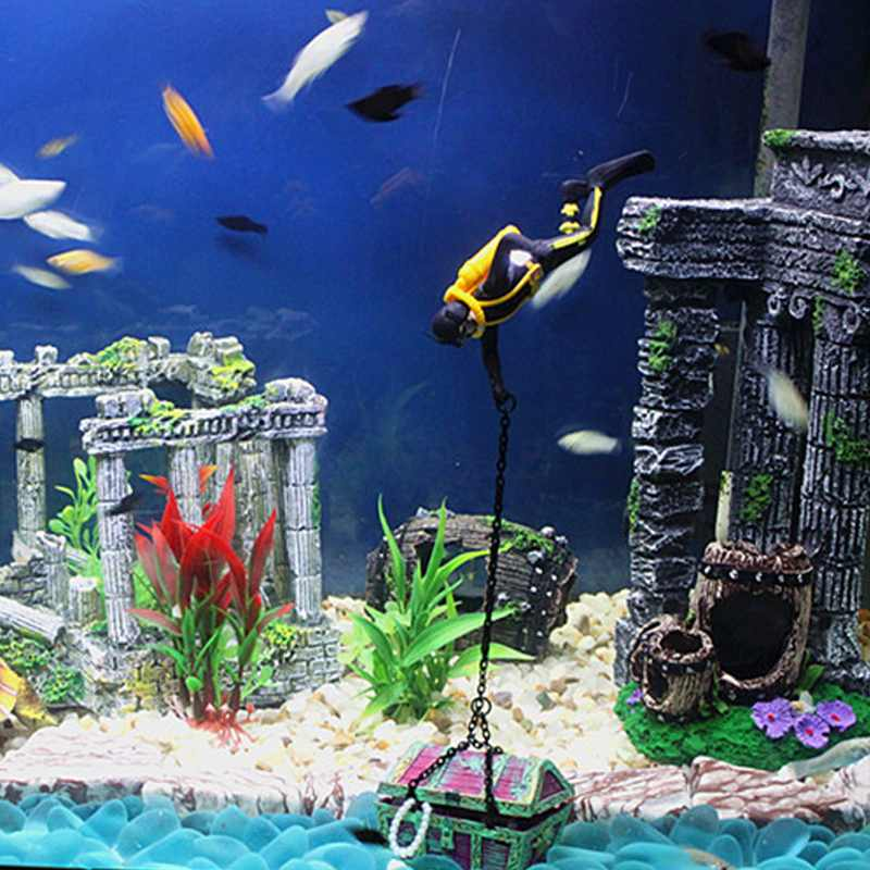 Hot item new arrival aquarium decoration treasure hunter for New fish tank
