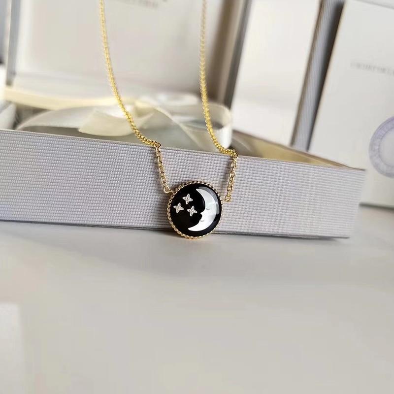 925 Sterling Double face pendentif collier pour les femmes nouveauté luxe Nacre lune et étoile conception femmes marque collier
