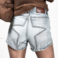 Holes Jeans Shorts Phụ Nữ Mùa Hè Cao Eo Stars Mẫu Sexy Quần Short Denim Ánh Sáng Slim Quần Ngắn Phụ Nữ spodenki damskie CX112