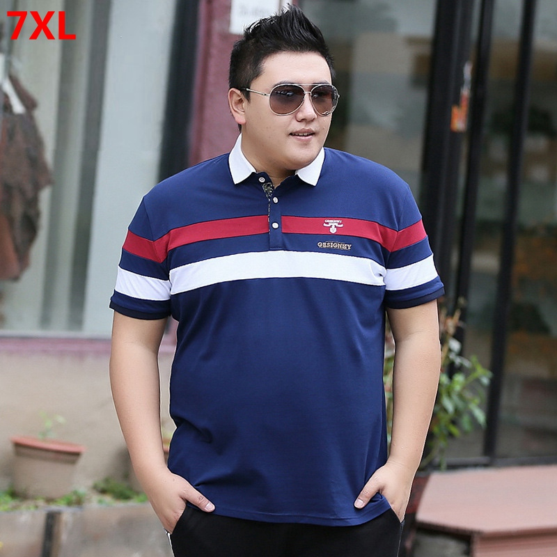 Men's Summer Large Size Short Sleeve   POLO   Shirt 7xl Bust 146 Super Fat Extra Large Splicing Lapel Half Sleeve Top