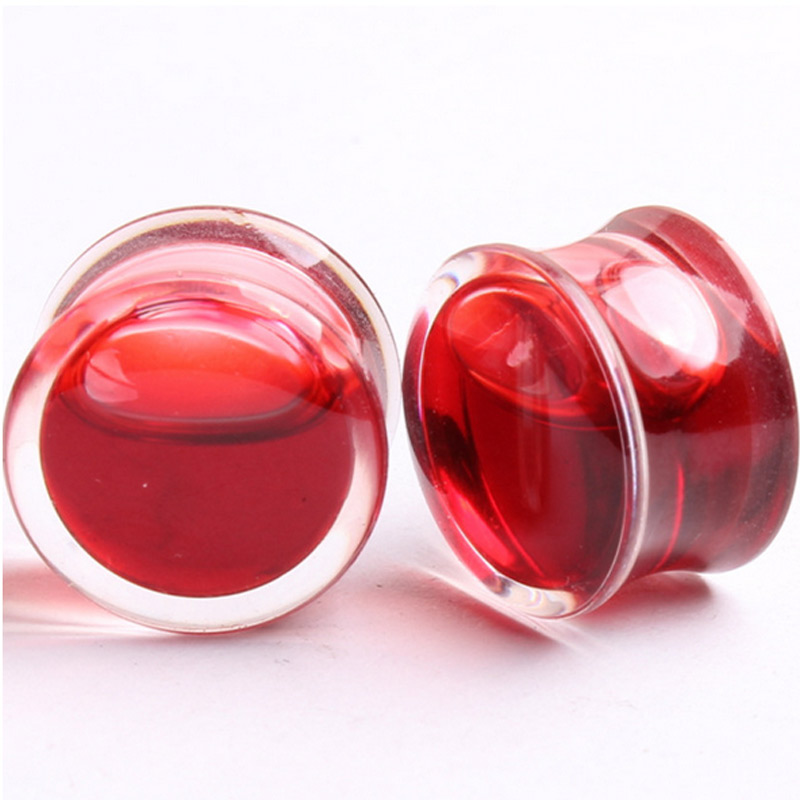 1 Pair of Blood Red Ear Plugs Size 8-25mm Double Flare Bone Ear Ring Gauges Expander Saddle Flesh Stretchers Piercing CX17