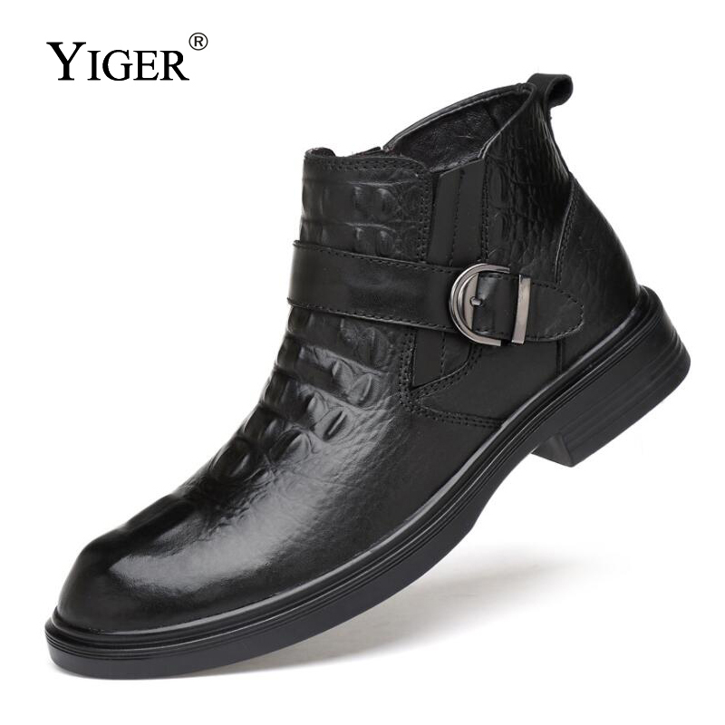 YIGER ใหม่ Man บู๊ทส์รถจักรยานยนต์ฤดูหนาวหนังแท้ที่มีข้อเท้ารองเท้า Man Martins รองเท้าบูทรอบ Toe รองเท้าสีดำ 0146-ใน รองเท้าบู๊ทมอเตอร์ไซค์ จาก รองเท้า บน   3