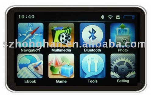 High Definition 7 Inch GPS with Bluetooth, AV IN, FM, 4GB card