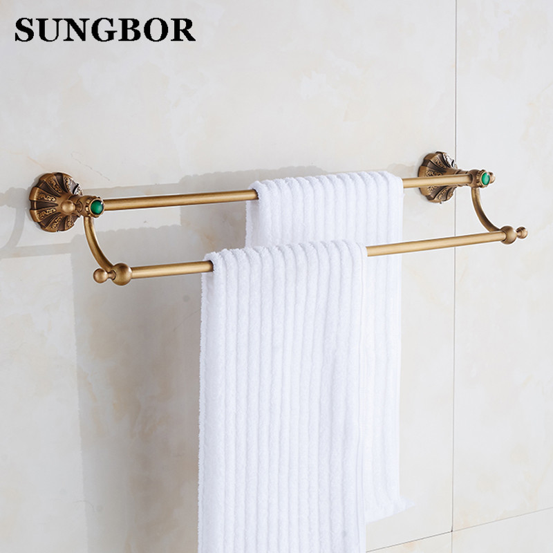 Double towel bars bathroom towel rack wall mounted antique bathroom towel bars Bathroom accessories Antique brass 60cm HT-6611F new arrival bathroom towel rack luxury antique copper towel bars contemporary stainless steel bathroom accessories 60cm k301