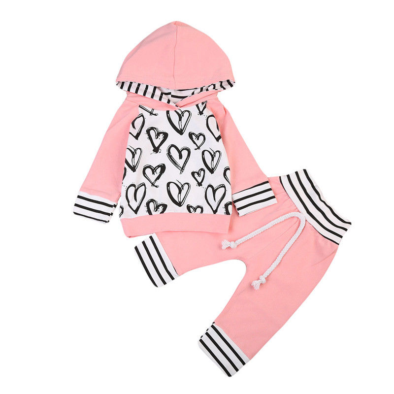 Love Heart Kid Baby Girl Pink Autumn Clothes Long Sleeve Hooded T-shirt Tops+Long Pants Outfits Girls Clothing Set Cotton 0-3Y love heart kid baby girl pink autumn clothes long sleeve hooded t shirt tops long pants outfits girls clothing set cotton 0 3y