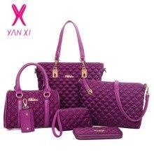 Yanxi venta directa de fábrica de bolsos de mujer de lujo clásico 6 sets enrejado de diamante de la manera de las mujeres del paño de oxford bolsas de hombro mensajero