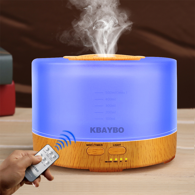 500ml Remote Control Aroma Essential Oil Diffuser Ultrasonic Air Humidifier with 4 Timer Settings 7 Color Changing LED Lamp500ml Remote Control Aroma Essential Oil Diffuser Ultrasonic Air Humidifier with 4 Timer Settings 7 Color Changing LED Lamp