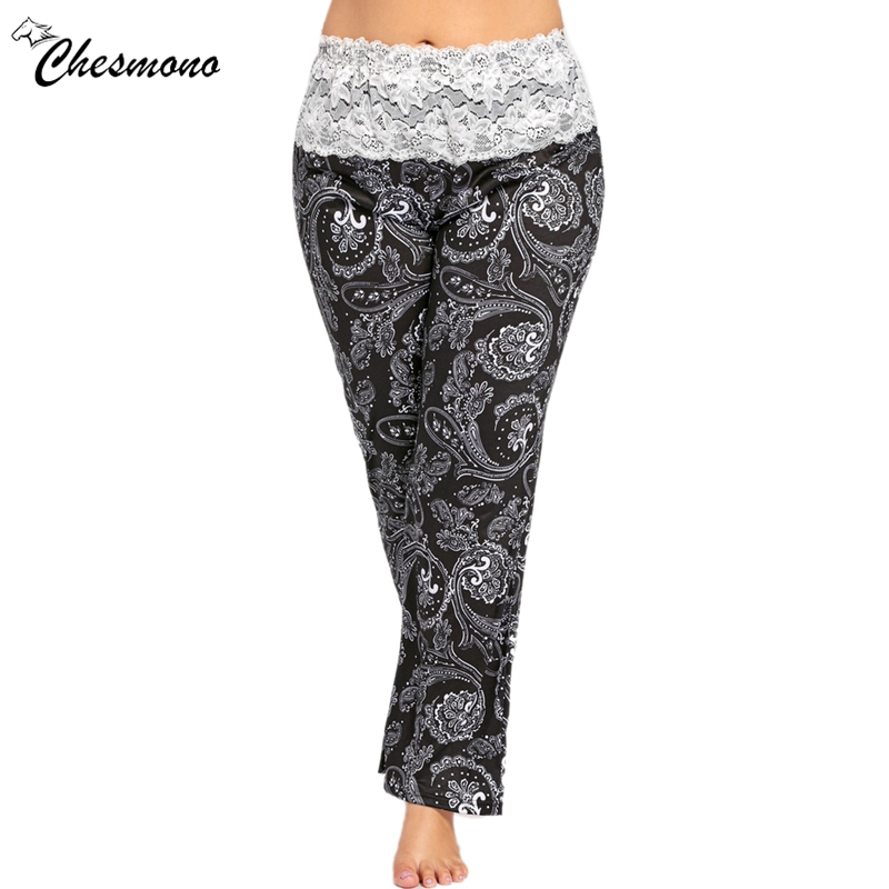 Plus Size XL-5XL Floral print straight Pants Women Clothing Sexy lace patchwork Large Size casual elastic waist Pants 2018