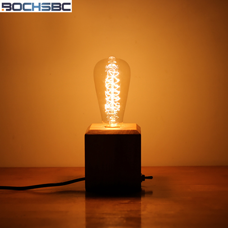BOCHSBC Art Wooden Table Lights Dimmer Switch Desk Lamp