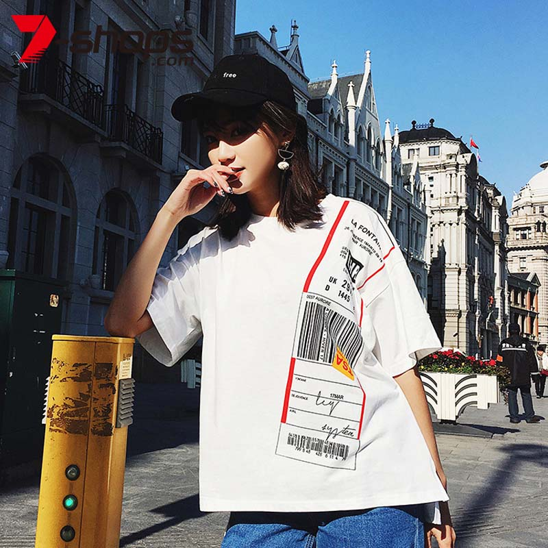 7-Shops Summer Women T shirt Street Style Short Sleeve Tee O-Neck Cotton Tops Tees korean unif Female shirt