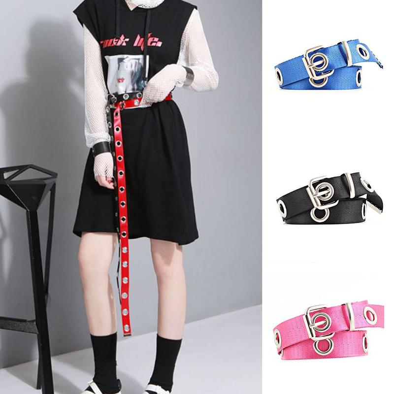 120/140cm Women Canvas Belt Female Adjustable Metal Buckle Big Eyelet Black White Punk Long Waist Belts For Dress Jeans Pants