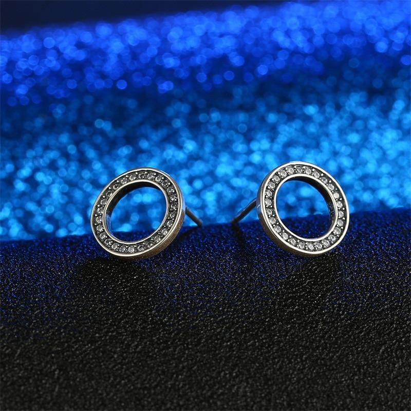 9cb875329c4281 AZIZ BEKKAOUI Nieuwe Authentieke 925 Sterling Zilver Eenvoudige Ronde Stud  Oorbellen voor Vrouwen Kristallen Oorbellen voor Meisjes Christmas Gift