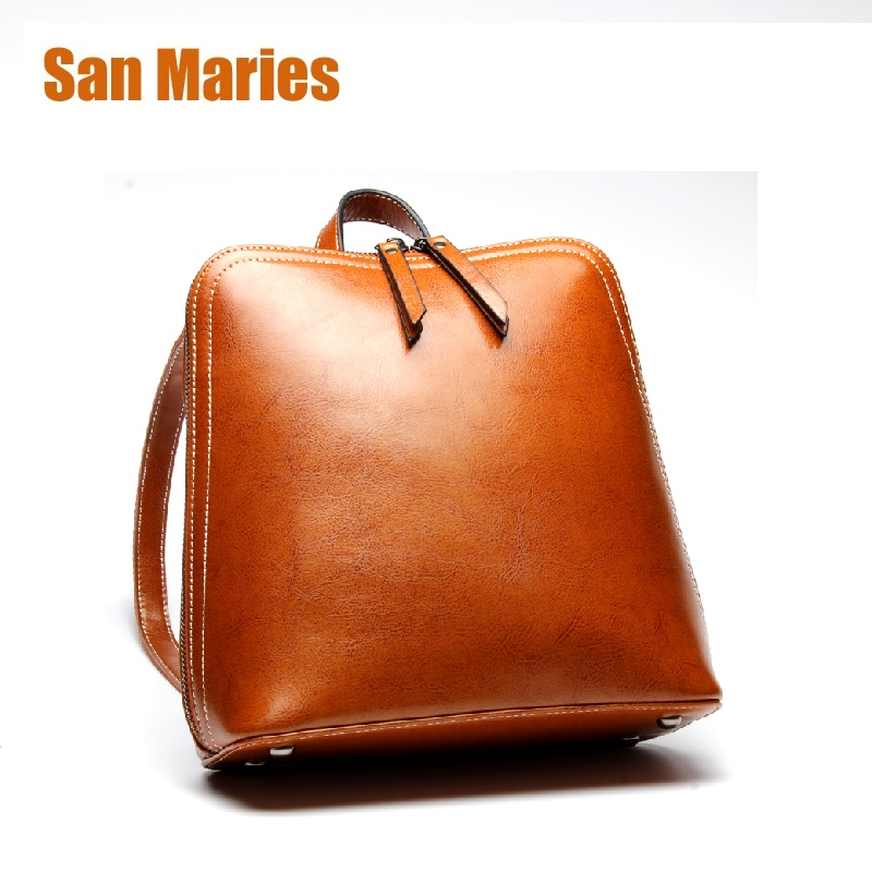 San Maries 2018 New Fashion Backpacks Women Backpack Cow Leather School Bag woman Casual Style Bags for Teenager Girls 2016 new fashion women backpack girls leather school bag women casual style shoulder bags sweet color