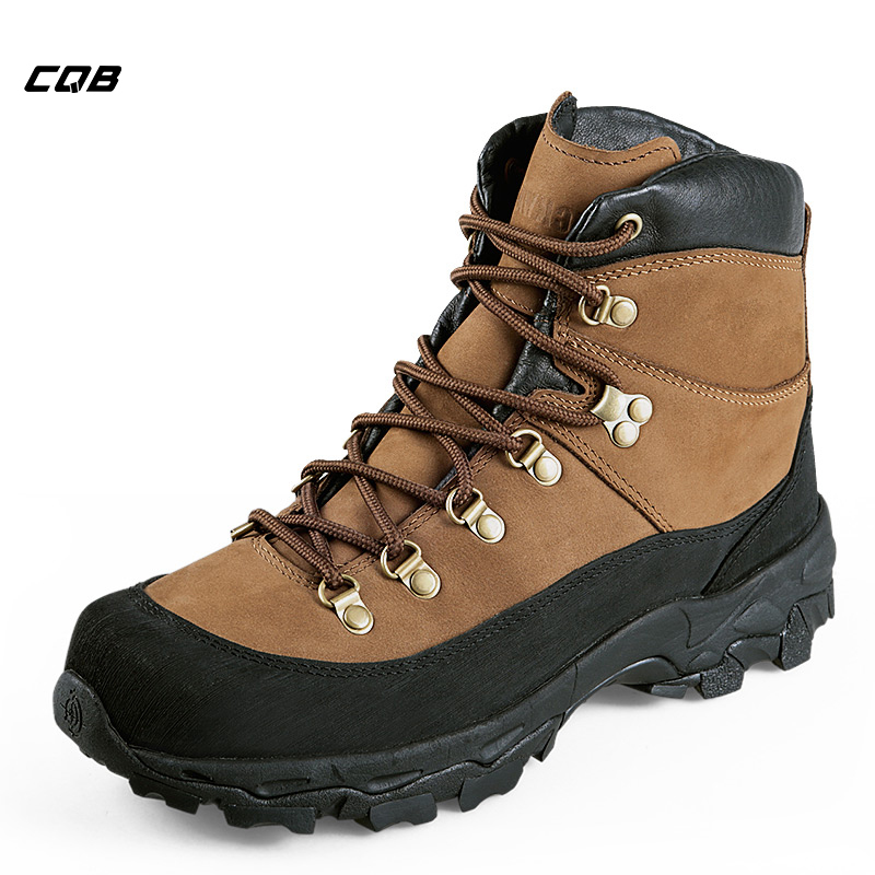CQB  Outdoor Climbing Sneakers Men Light Hiking Shoes Hunting Boots Tactical Military Combat Middle Heel Real Leather Shoes