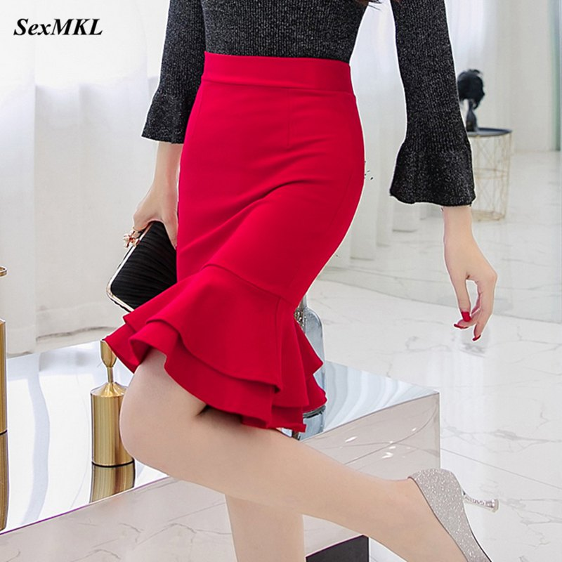 SEXMKL Womens Korean Pencil Skirt 2019 Fashion Elegant High Waist Ruffle Black Skirt Office Ladies Sexy Plus Size Red Skirt Jupe