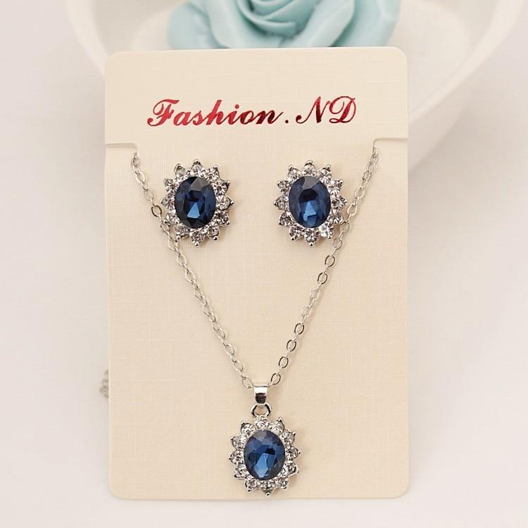 set The New High-grade Navy Blue Suit, Blue Royal Princess Same Paragraph Imitation Gemstones Necklace Set Wholesale